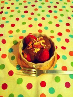 Strawberries with banana chocolate sauce