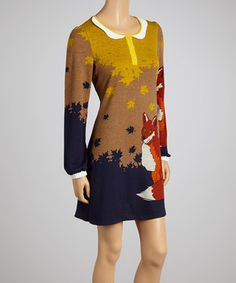 Look what I found on #zulily! Yellow Fox Shift Dress by Just Funky #zulilyfinds