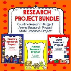 Research ProjectThis is a bundle of my 3 Research Projects. Each is regularly 3.00 each but the bundle deal for all 3 is only 7.00! Save 2.00!The following research project packs are included: Country Research Project, Animal Research Project and State Research Project.Each research project contains about 10-12 pages of pages that students should fill out as they do their research on the provided topics.