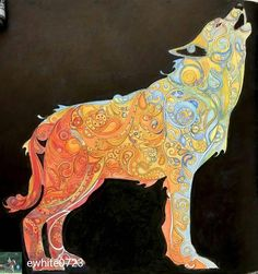 Repost from - Very old coloring - been wanting to add black background for a long time. Book Mystical Menagerie by Lark publishing. Howl At The Moon, Wolf Howling, Johanna Basford, Prismacolor, Black Backgrounds, Adult Coloring, Pens, Mystic, Moose Art