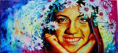 """Retrato de """"Camila"""" en técnica mixta de  Judith Grettell Figueroa"""