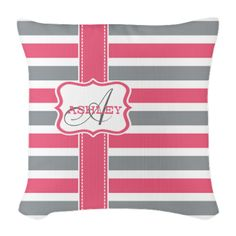 Pink and Grey Stripes Monogram Burlap Throw Pillow