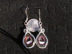 Tabasco geode earrings wrapped with sterling silver wire. by mattewing on Etsy https://www.etsy.com/listing/127644161/tabasco-geode-earrings-wrapped-with