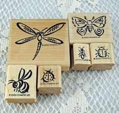 Retired Stampin Up Stamp Set Bunch O' Bugs. This set is from 2000 and has never been used. It has six bugs -- well I don't really think of a butterfly as a bug but that's what it is in THIS set :+) Th
