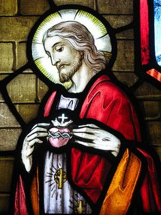 """The Sacred Heart of Jesus Stained Glass Window Jesus said, """"Peace I leave with you; my peace I give you. I do not give to you as the world gives. Do not let your hearts be troubled and do not be afraid."""" Our Lady of the Lake Catholic Church, Sparta, New Jersey"""