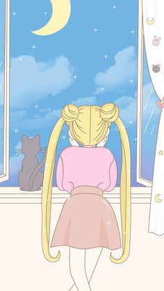 Wallpaper sailor moon serena y luna vista al cielo Wallpapers Kawaii, Kawaii Wallpaper, Pastel Wallpaper, Animes Wallpapers, Cartoon Wallpaper, Sailor Moon S, Sailor Moon Crystal, Sailor Moon Aesthetic, Aesthetic Anime