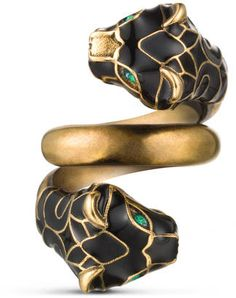 Shop Now - >  https://api.shopstyle.com/action/apiVisitRetailer?id=498360142&pid=uid6996-25233114-59 Tiger head ring with black enamel  ...