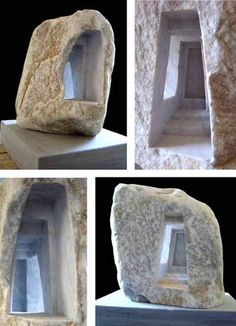 Carrara marble #sculpture by #sculptor Matthew Simmonds titled: 'The Passage (study) (Carved marble Building statues)'. #MatthewSimmonds
