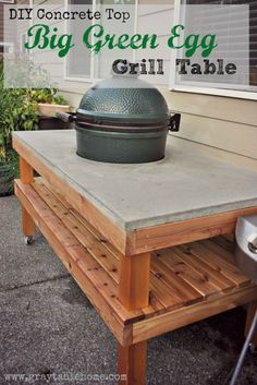 62 Ideas For Backyard Table Big Green Eggs Big Green Egg Grill, Big Green Egg Outdoor Kitchen, Big Green Egg Table, Outdoor Kitchen Patio, Outdoor Kitchen Countertops, Green Eggs, Outdoor Living, Outdoor Spaces, Outdoor Kitchens