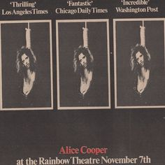#yearsago #November #7th #1971 The Alice Cooper Band play for the second time at #London's #Rainbow.  Trade Advert #alicecooper #alicecooperband #facebookalicecoopercuttings
