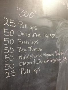 25 pull ups, 50 DLs, 50 push ups, 50 box jumps, 50 windshield wipers, 50 C&J, 25 pull ups