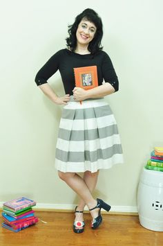 Grey Striped Bridesmaid Skirt Gray skirt made to by SandeeRoyalty