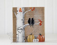 This sweet painting features two lovebirds snuggling on a tree branch. This painting would make a perfect 5th Anniversary gift, or Wedding gift for that specia