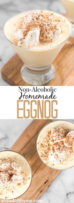 one sip of this non-alcoholic homemade eggnog and you'll never look back at store-bought versions! It's creamy, thick and smooth! No Bake Desserts, Delicious Desserts, Dessert Recipes, Drink Recipes, Egg Recipes, Ponche Navideno, Non Alcoholic Drinks, Non Alcoholic Eggnog Recipe, Alcohol