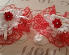 Red and white frilly socks available in baby infant and child, also can do different colors.