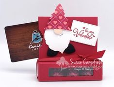Hershey Kiss Box and Gift Card Holder Valentine Gnome Cup of Cheer - 4 Valentine Love Cards, Little Valentine, Valentines For Kids, Valentine Gifts, Valentine Ideas, Last Minute Christmas Gifts, Christmas Gift Box, Christmas Gnome, Christmas Cards