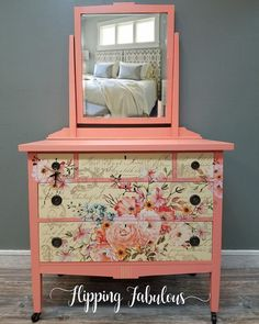 REDESIGN decor transfers Yesss This dresser was painted with Fusion Mineral Paint Coral Buttermilk Cream with Prima Rose Celebration transfer Ahhhmazing View all of our. Coral Painted Furniture, Chalk Paint Furniture, Furniture Projects, Furniture Makeover, Diy Furniture, Furniture Design, Shabby Chic Interiors, Furniture Restoration, Furniture Inspiration