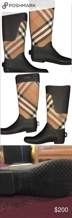 Burberry Rain Boots Clemence Black with Burberry Checkered Print Boots Burberry Shoes Winter & Rain Boots