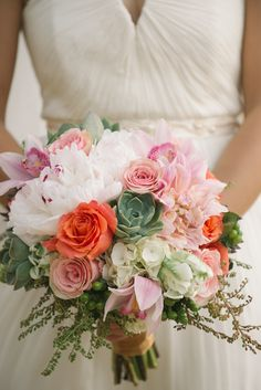 Pink, Coral and White Bridal Bouquet | Lauren Lindley Photography | Theknot.com