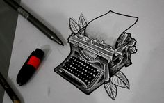 Writer is there to write it -by me hp writing tattoos, literary tattoos, ti Future Tattoos, Love Tattoos, Body Art Tattoos, Pretty Tattoos, Full Tattoo, I Tattoo, Typewriter Tattoo, Awareness Tattoo, Ink Addiction