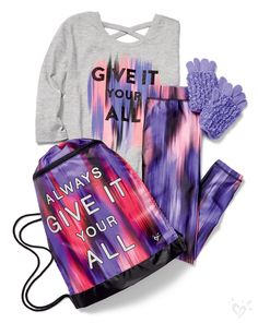 On her list: our print-perfect leggings, made-to-match top and coordinating accessories.