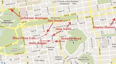 Here are the full addresses for your Summer of Love walking tour: Janis Joplin: 635 Ashbury and also 112 Lyon Grateful Dead: 710 Ashbury Hells Angels:  719 Ashbury Jimi Hendrix: 1524 Haight apartment Charles Manson: 616 Page Jefferson Airplane rehearsal spot: 2400 Fulton Bonus (off map): The real Full House house: 1709 Broderick