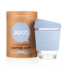 Amazon.com | JOCO 12oz Glass Reusable Coffee Cup (Vintage Blue): Coffee Cups & Mugs