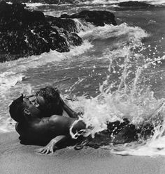 From here to eternity. Burt Lancaster & Deborah Kerr. Supposedly the longest kiss ever featured in a movie.