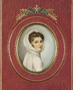 Miniature portrait - SICHEL, Walter. Emma Lady Hamilton. London: Archibald Constable, 1905. Book Labels, Miniature Portraits, Pride And Prejudice, Women In History, Rose Petals, Regency, Hamilton, Miniatures, Ivory