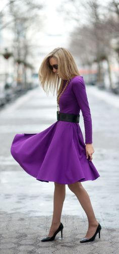 I love skirts that twirl! This plum long sleeved dress is perfect for a spring day out! :: Purple Dress:: Retro fashion