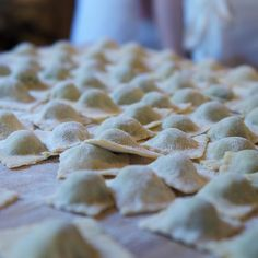 """Today's fresh #pasta & sauces class: #homemade #ravioli stuffed with chard (from our garden) & ricotta in a """"sauce of the moment"""" of pine nut & cream."""