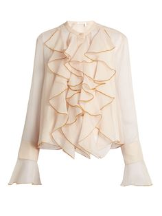 Ruffle-trimmed crépon blouse   See By Chloé   MATCHESFASHION.COM US