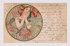 Alphonse Mucha Original 1901 Vintage Art Nouveau Card, $175.00