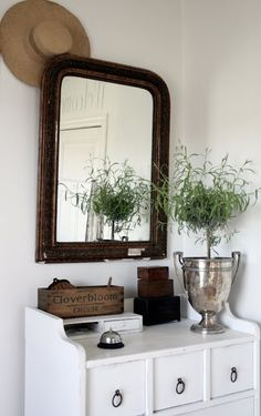 Vintage French Soul ~  silver trophy on white cabinet