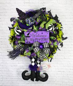 Witch Wreath, Halloween Witch Wreath, Harlequin Witch Wreath, Witch Legs Wreath…
