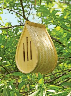"Butterfly House in Woven Bamboo | Gardener's Supply - gardeners.com - ""Butterflies are not only beautiful, they're also important pollinators. The teardrop-shaped shelter is woven from natural bamboo that sheds water while providing good ventilation. ​Place bark or twigs inside for butterflies to perch on as they roost or take shelter from rain and wind. ​Narrow slots to keep predators out. Built-in hanging loop."""
