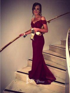 Trumpet/Mermaid Off-the-Shoulder Sleeveless Lace Beading Sweep/Brush Train Dresses #dress