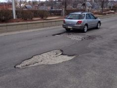 Thanks to James Kosloski for this #ripothole pic of  Eastbound Side of Point Street #Providence,  just before the bridge.