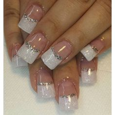Love these nails<br> French Nails, French Manicure Nails, Gel Nails, Silver Nail Designs, Nails Design With Rhinestones, Gel Nail Art Designs, Gorgeous Nails, Love Nails, Pretty Nails