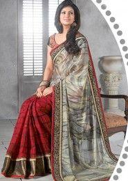 Magnificent Brasso Grey Party Wear Designer Saree