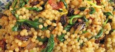 MzTasty's Kitchen, Savor The Flavor: Couscous with Spinach & Sundried Tomatoes Pasta Recipes, Cooking Recipes, Healthy Recipes, Fun Recipes, Healthy Meals, Paella, Pearl Couscous Recipes, Tomato Pesto, Vegetarian Main Dishes