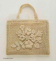Bolso tejido con apliques de crochet irlandes | Cosas | Pinterest ...