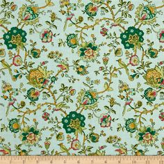 Designed by Kaye England for Wilmington Prints, this cotton print collection features french pastoral scenes, florals, and new spins on classic patterns. Perfect for quilting, apparel, and home decor accents. Colors include jade, teal, cream, aqua, yellow, and pink.