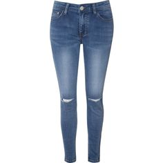 Blue Vintage Wash Ripped Knee Skinny Jeans ($36) ❤ liked on Polyvore featuring jeans, blue, destroyed skinny jeans, blue skinny jeans, blue jeans, ripped blue jeans and high waisted blue jeans