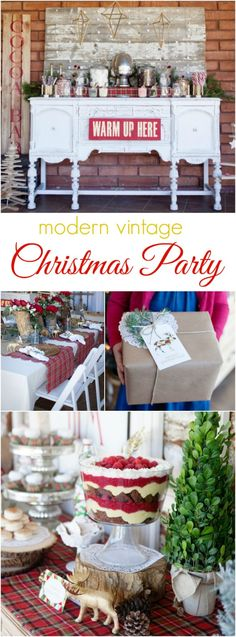 vintage Christmas themed party Modern Vintage Christmas themed party ideas, so pretty! Lots of Christmas decor ideas!Modern Vintage Christmas themed party ideas, so pretty! Lots of Christmas decor ideas! Vintage Christmas Party, Christmas Party Themes, Merry Little Christmas, Xmas Party, Rustic Christmas, Winter Christmas, All Things Christmas, Holiday Fun, Christmas Crafts