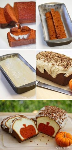 Pumpkin pound cake with brown butter pecan icing... yum! And it's cute to look at! #recipe #fall #dessert Super cute!