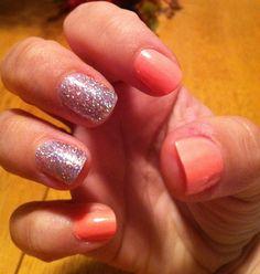 Orange and Glitter Nails
