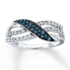 Blue & White Diamond Ring 1/3 ct Round-cut 10K White Gold