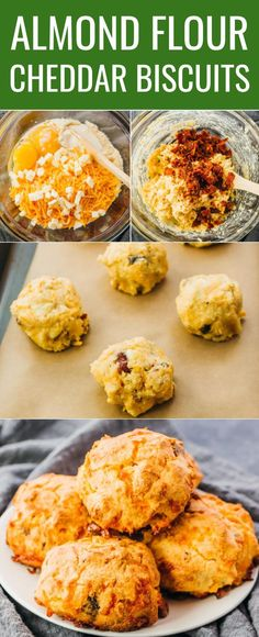 Almond Flour Biscuits (Keto, Low Carb) - Savory Tooth These fluffy bacon cheddar biscuits are quick and easy to make, and can be enjoyed for a savory breakfast, as a portable snack, or as a chee Biscuits Keto, Almond Flour Biscuits, Cheddar Biscuits, Almond Flour Recipes, Coconut Flour, Keto Flour, Healthy Low Carb Recipes, Ketogenic Recipes, Low Carb Keto