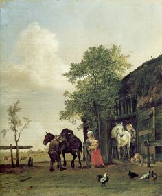 Paulus Potter FIGURES WITH HORSES BY A STABLE 1647